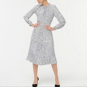 J. Crew Polka Dot Ruffle Neck Long Sleeve Dress